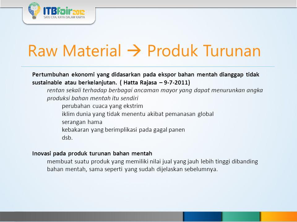 Raw Material  Produk Turunan Pertumbuhan ekonomi yang didasarkan pada ekspor bahan mentah dianggap tidak sustainable atau berkelanjutan. ( Hatta Raja
