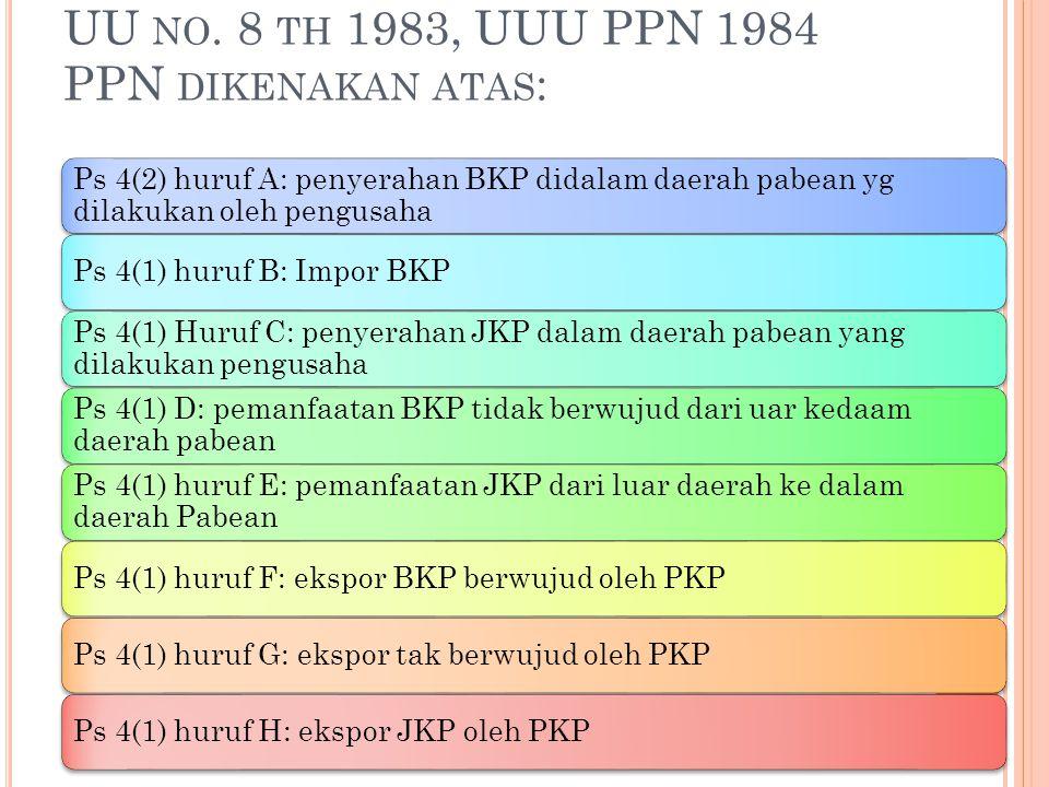 UU NO. 8 TH 1983, UUU PPN 1984 PPN DIKENAKAN ATAS : Ps 4(2) huruf A: penyerahan BKP didalam daerah pabean yg dilakukan oleh pengusaha Ps 4(1) huruf B: