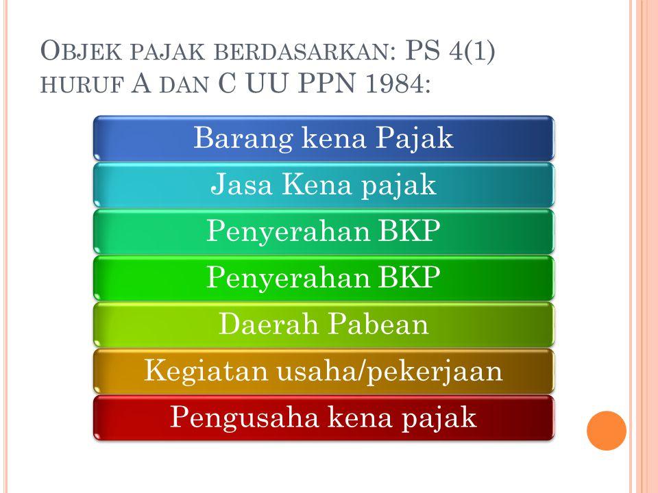 O BJEK PAJAK BERDASARKAN : PS 4(1) HURUF A DAN C UU PPN 1984: Barang kena PajakJasa Kena pajakPenyerahan BKP Daerah PabeanKegiatan usaha/pekerjaanPeng