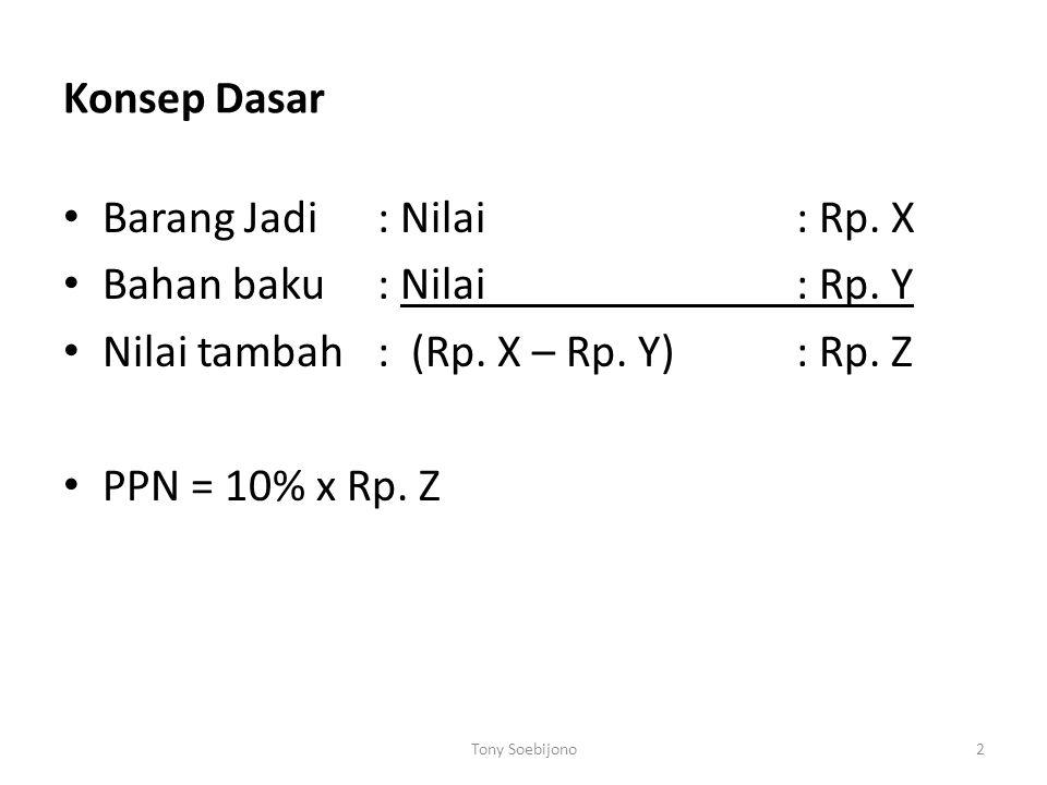 2 Konsep Dasar Barang Jadi : Nilai: Rp. X Bahan baku: Nilai: Rp. Y Nilai tambah: (Rp. X – Rp. Y): Rp. Z PPN = 10% x Rp. Z