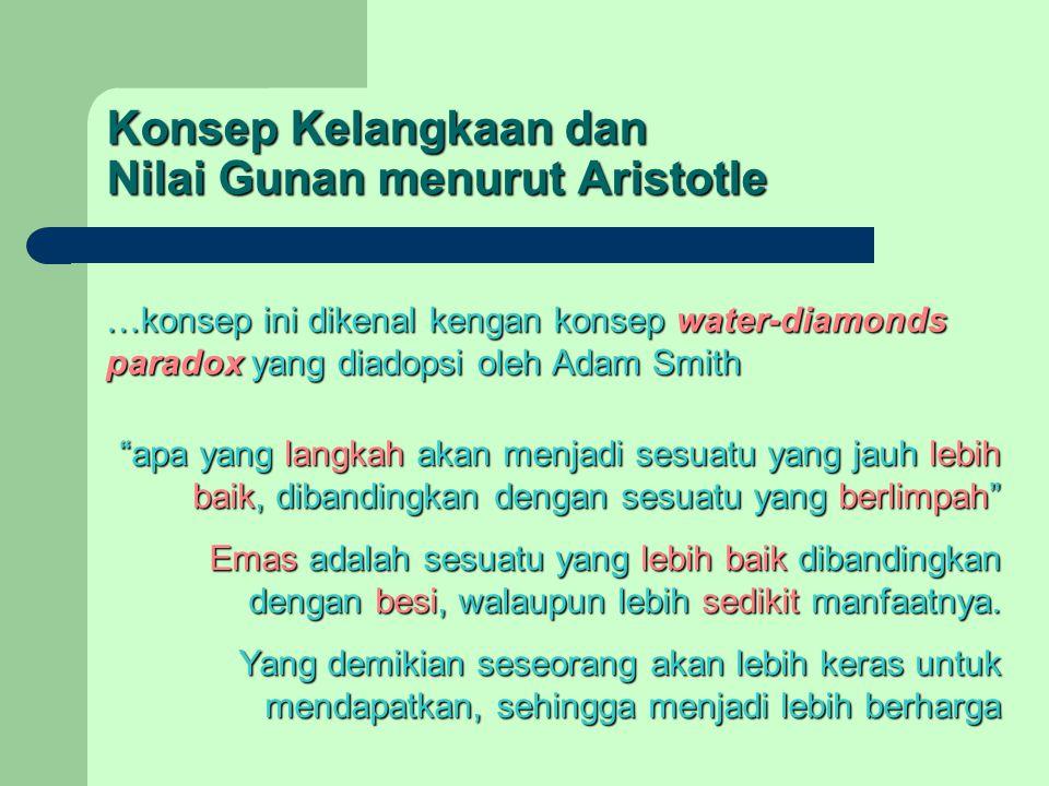 "Konsep Kelangkaan dan Nilai Gunan menurut Aristotle …konsep ini dikenal kengan konsep water-diamonds paradox yang diadopsi oleh Adam Smith ""apa yang l"