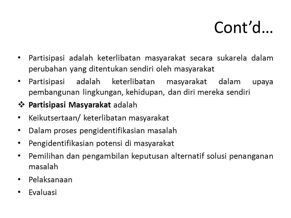 Cont'd… Partisipasi adalah keterlibatan masyarakat secara sukarela dalam perubahan yang ditentukan sendiri oleh masyarakat Partisipasi adalah keterlib