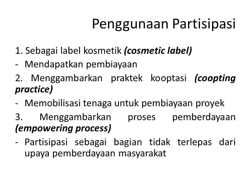 Penggunaan Partisipasi 1. Sebagai label kosmetik (cosmetic label) -Mendapatkan pembiayaan 2. Menggambarkan praktek kooptasi (coopting practice) -Memob
