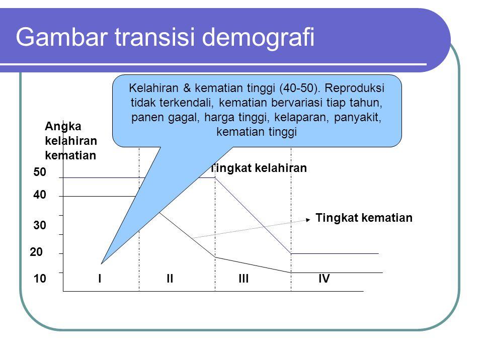Gambar transisi demografi (4 Tingkatan) Tingkat kematian 10 20 30 40 50 IIIIIIIV Angka kelahiran kematian Tingkat kelahiran
