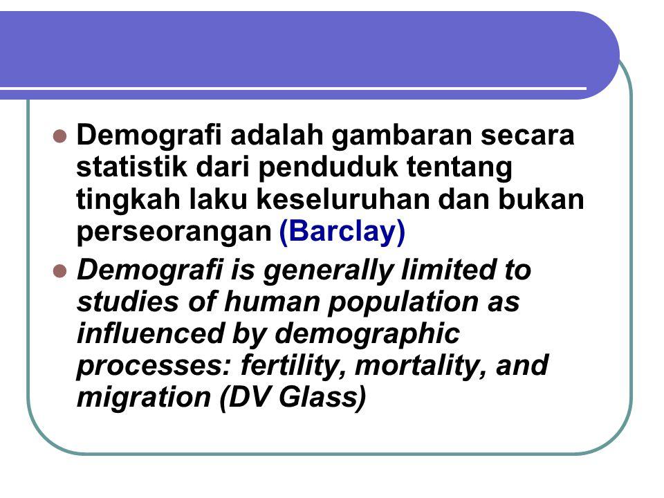 Ilmu yang mempelajari secara statistik dan matematika tentang besar, komposisi, dan distribusi penduduk serta perubahan penduduk melalui 5 komponen de