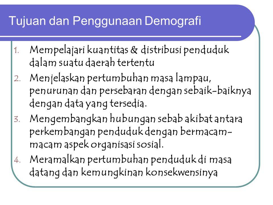 Simpulan demografi : Mempelajari struktur & proses penduduk di suatu wilayah Struktur penduduk : jumlah, penyebaran & komposisi penduduk Struktur pend