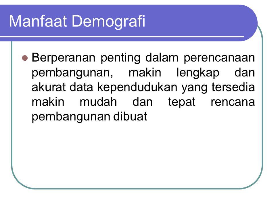 Tujuan dan Penggunaan Demografi 1. Mempelajari kuantitas & distribusi penduduk dalam suatu daerah tertentu 2. Menjelaskan pertumbuhan masa lampau, pen