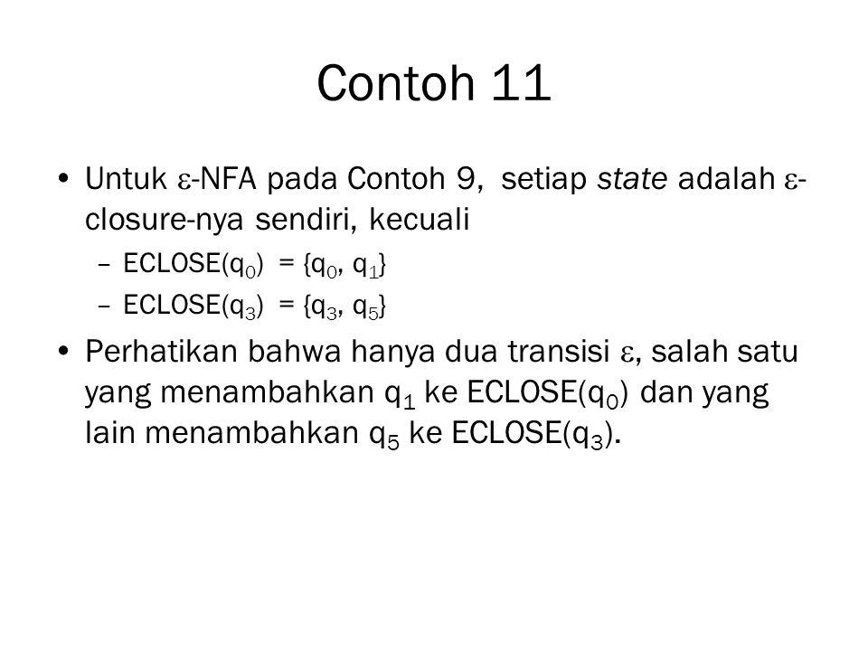 Contoh 11 Untuk  -NFA pada Contoh 9, setiap state adalah  - closure-nya sendiri, kecuali –ECLOSE(q 0 ) = {q 0, q 1 } –ECLOSE(q 3 ) = {q 3, q 5 } Perhatikan bahwa hanya dua transisi , salah satu yang menambahkan q 1 ke ECLOSE(q 0 ) dan yang lain menambahkan q 5 ke ECLOSE(q 3 ).