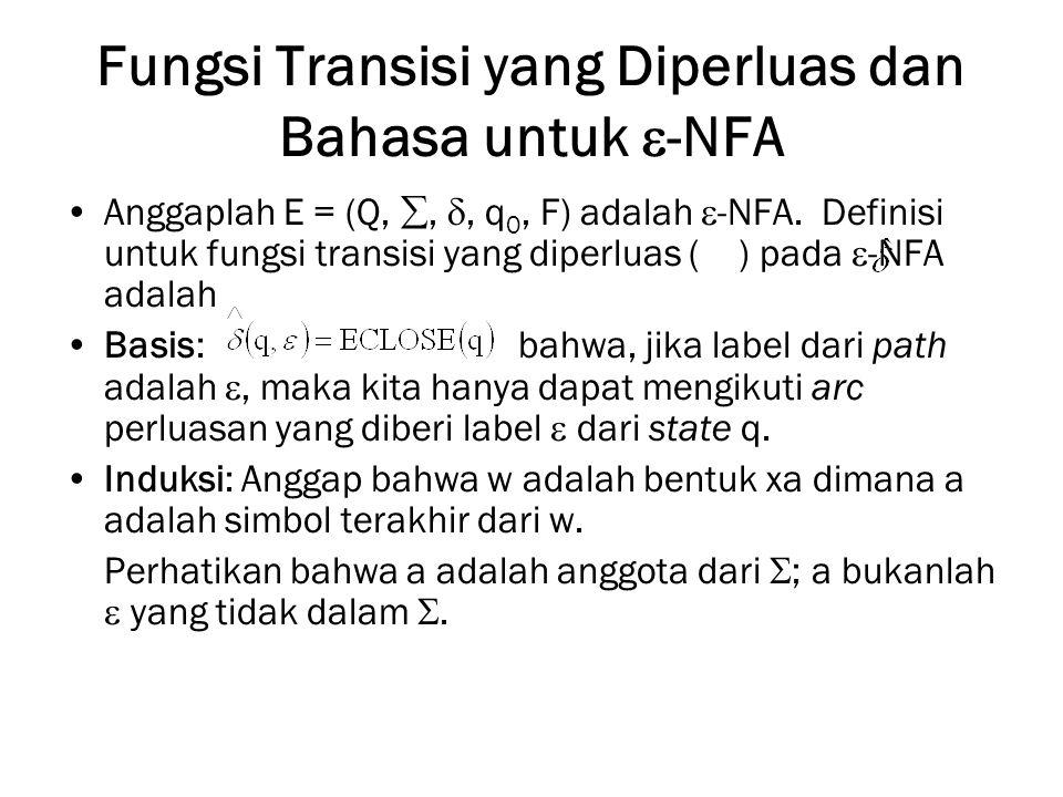 Fungsi Transisi yang Diperluas dan Bahasa untuk  -NFA Anggaplah E = (Q, , , q 0, F) adalah  -NFA.