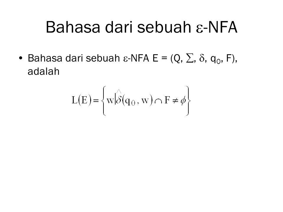 Bahasa dari sebuah  -NFA Bahasa dari sebuah  -NFA E = (Q, , , q 0, F), adalah