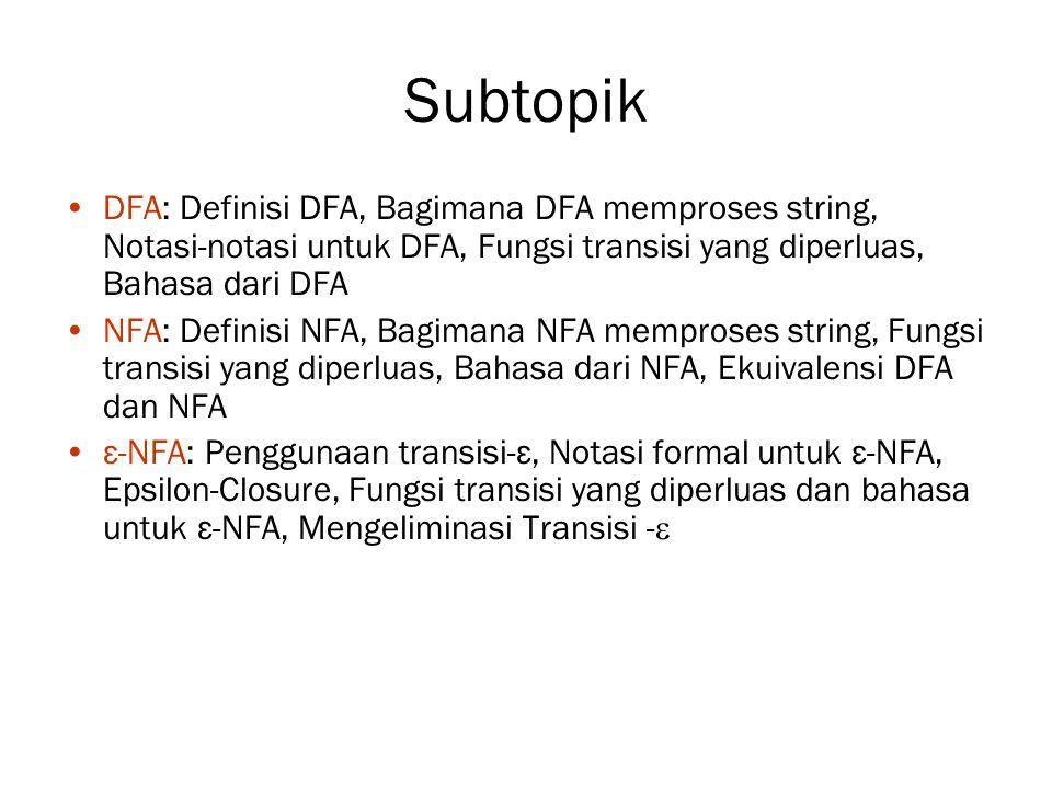 Subtopik DFA: Definisi DFA, Bagimana DFA memproses string, Notasi-notasi untuk DFA, Fungsi transisi yang diperluas, Bahasa dari DFA NFA: Definisi NFA, Bagimana NFA memproses string, Fungsi transisi yang diperluas, Bahasa dari NFA, Ekuivalensi DFA dan NFA ε-NFA: Penggunaan transisi-ε, Notasi formal untuk ε-NFA, Epsilon-Closure, Fungsi transisi yang diperluas dan bahasa untuk ε-NFA, Mengeliminasi Transisi - 