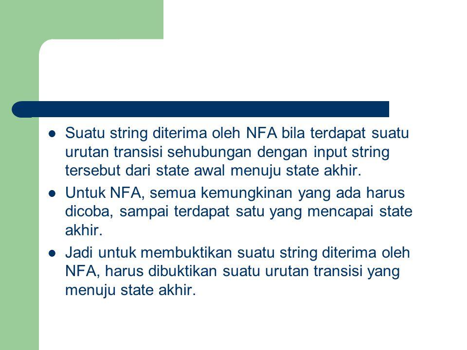Suatu string diterima oleh NFA bila terdapat suatu urutan transisi sehubungan dengan input string tersebut dari state awal menuju state akhir. Untuk N