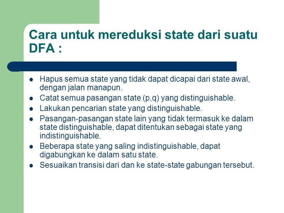 Cara untuk mereduksi state dari suatu DFA : Hapus semua state yang tidak dapat dicapai dari state awal, dengan jalan manapun. Catat semua pasangan sta
