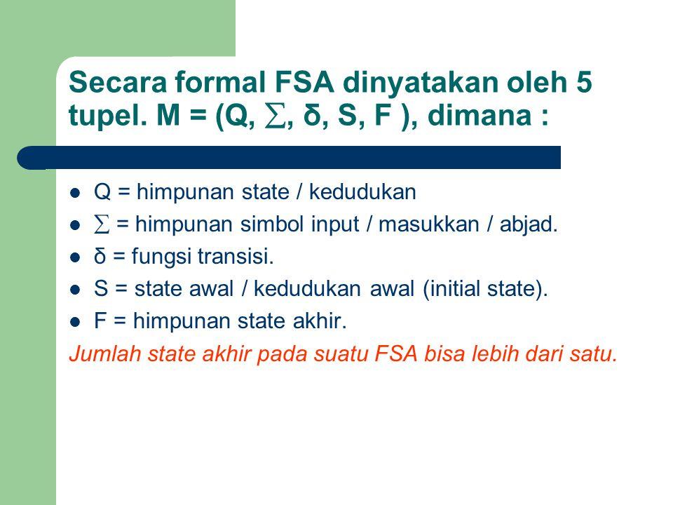 Secara formal FSA dinyatakan oleh 5 tupel. M = (Q, , δ, S, F ), dimana : Q = himpunan state / kedudukan  = himpunan simbol input / masukkan / abjad.