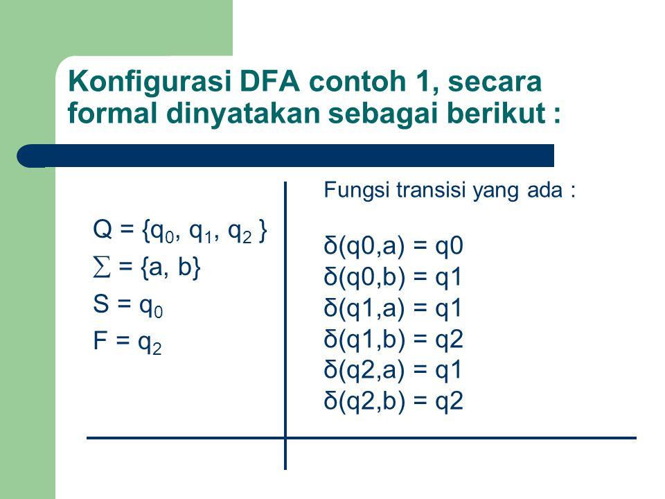 Konfigurasi DFA contoh 1, secara formal dinyatakan sebagai berikut : Q = {q 0, q 1, q 2 }  = {a, b} S = q 0 F = q 2 Fungsi transisi yang ada : δ(q0,a