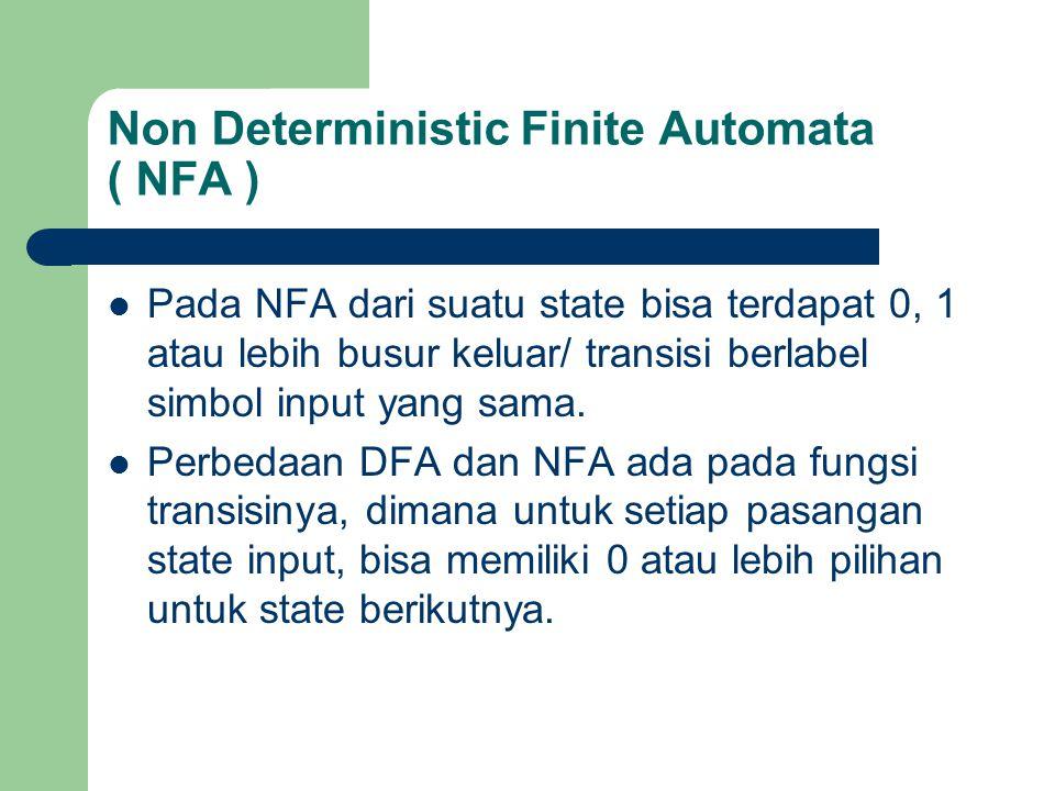 Non Deterministic Finite Automata ( NFA ) Pada NFA dari suatu state bisa terdapat 0, 1 atau lebih busur keluar/ transisi berlabel simbol input yang sa