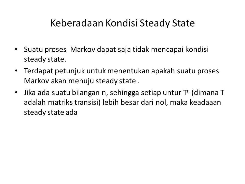 Keberadaan Kondisi Steady State Suatu proses Markov dapat saja tidak mencapai kondisi steady state. Terdapat petunjuk untuk menentukan apakah suatu pr