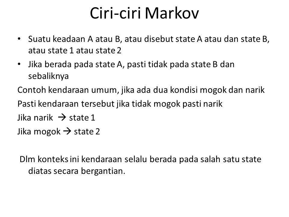 Ciri-ciri Markov Suatu keadaan A atau B, atau disebut state A atau dan state B, atau state 1 atau state 2 Jika berada pada state A, pasti tidak pada s
