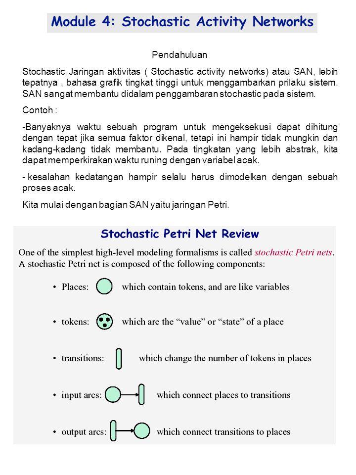 ASK41 Pendahuluan Stochastic Jaringan aktivitas ( Stochastic activity networks) atau SAN, lebih tepatnya, bahasa grafik tingkat tinggi untuk menggambarkan prilaku sistem.