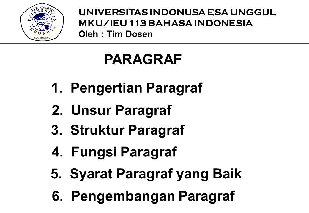 PARAGRAF 1.Pengertian Paragraf 2. Unsur Paragraf 3. Struktur Paragraf 4. Fungsi Paragraf 5. Syarat Paragraf yang Baik 6. Pengembangan Paragraf UNIVERS