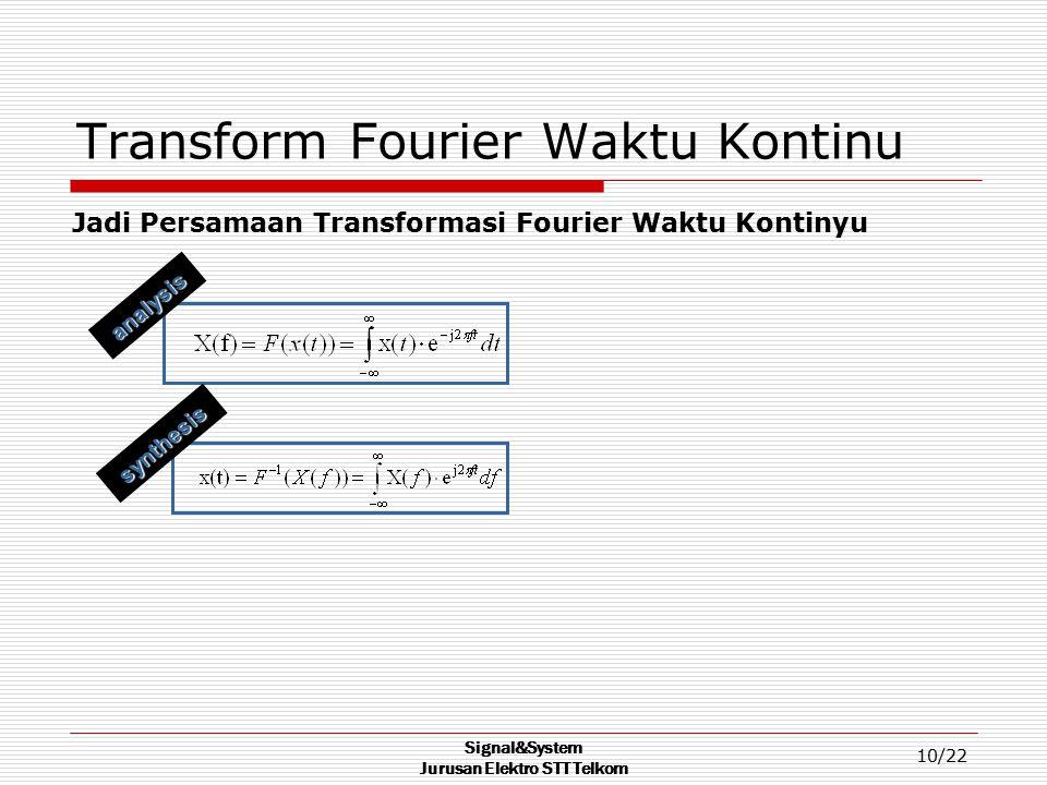 Signal&System Jurusan Elektro STT Telkom 10/22 Transform Fourier Waktu Kontinu Jadi Persamaan Transformasi Fourier Waktu Kontinyu synthesis analysis