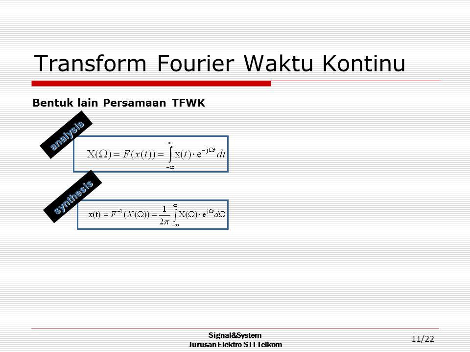 Signal&System Jurusan Elektro STT Telkom 11/22 Transform Fourier Waktu Kontinu Bentuk lain Persamaan TFWK synthesis analysis