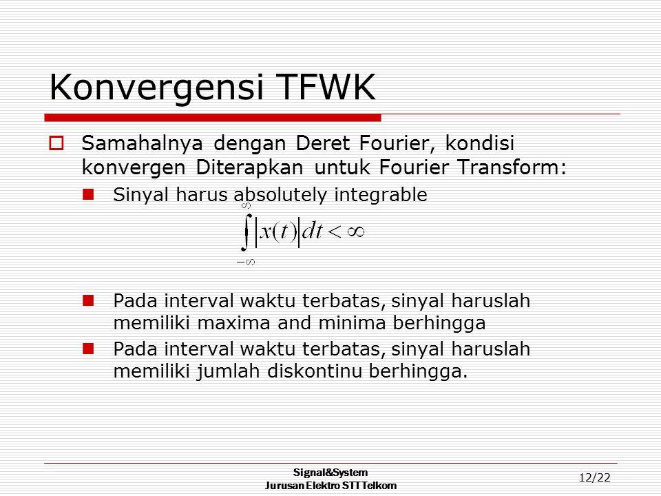 Signal&System Jurusan Elektro STT Telkom 12/22 Konvergensi TFWK  Samahalnya dengan Deret Fourier, kondisi konvergen Diterapkan untuk Fourier Transfor