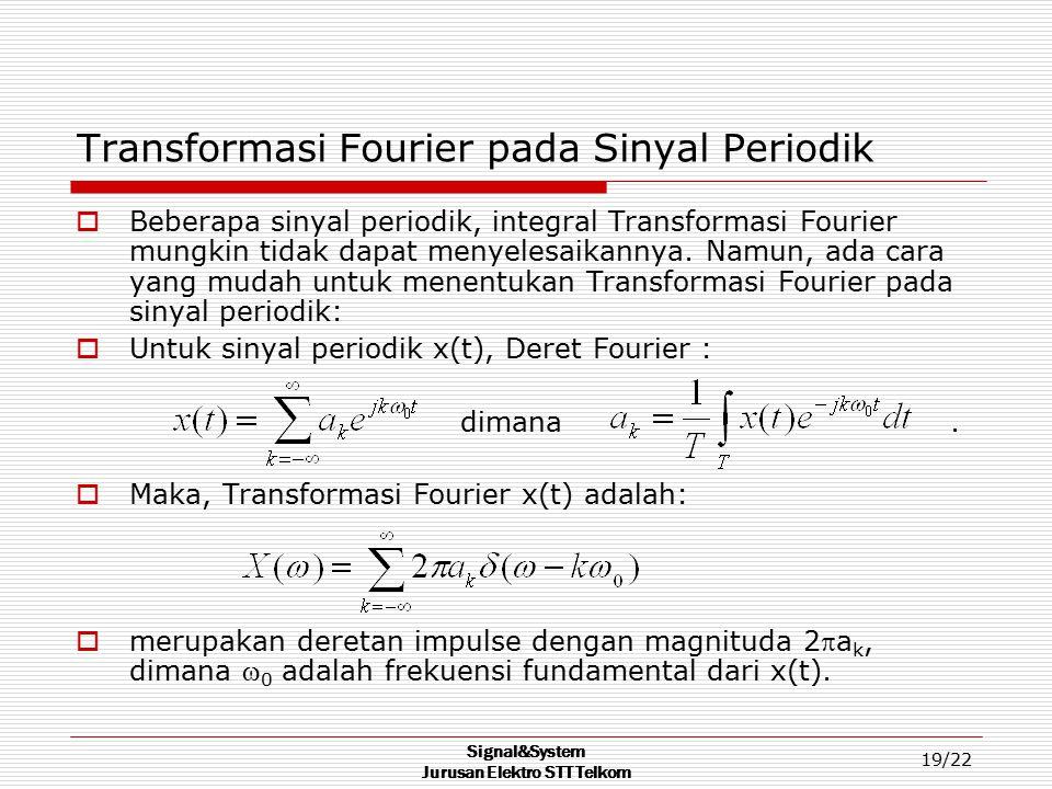 Signal&System Jurusan Elektro STT Telkom 19/22 Transformasi Fourier pada Sinyal Periodik  Beberapa sinyal periodik, integral Transformasi Fourier mun