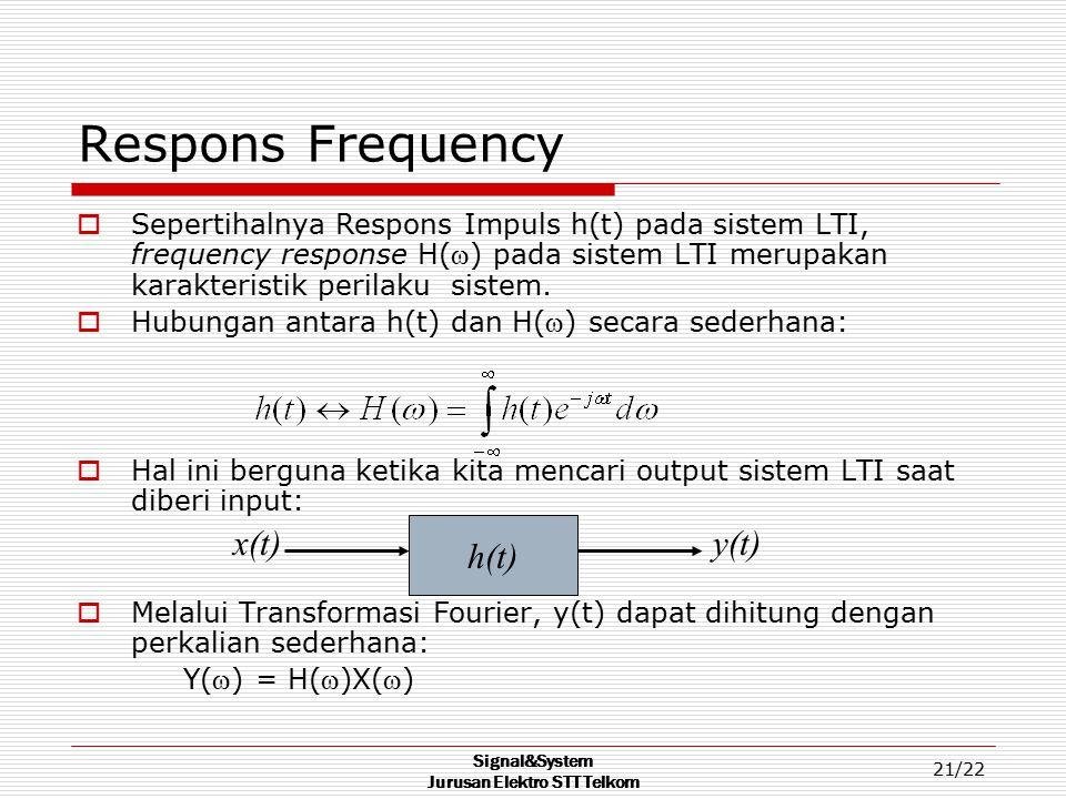 Signal&System Jurusan Elektro STT Telkom 21/22 Respons Frequency  Sepertihalnya Respons Impuls h(t) pada sistem LTI, frequency response H() pada sis