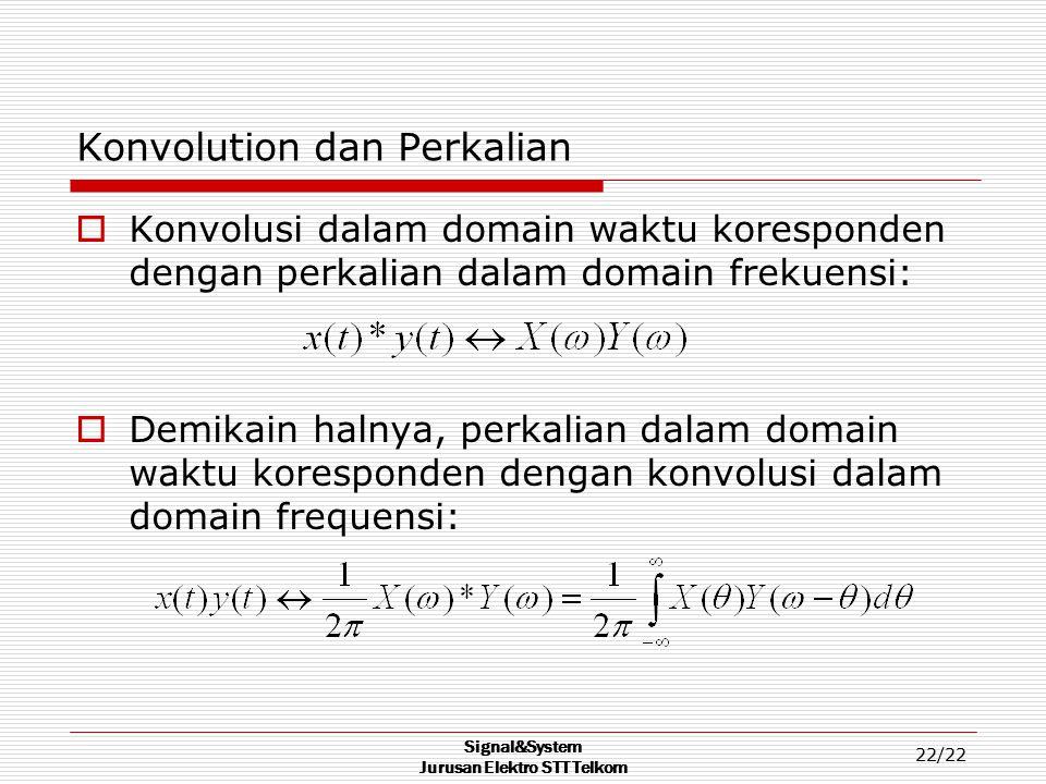 Signal&System Jurusan Elektro STT Telkom 22/22 Konvolution dan Perkalian  Konvolusi dalam domain waktu koresponden dengan perkalian dalam domain frek