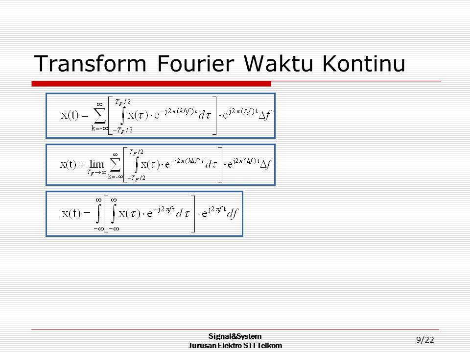 Signal&System Jurusan Elektro STT Telkom 9/22 Transform Fourier Waktu Kontinu