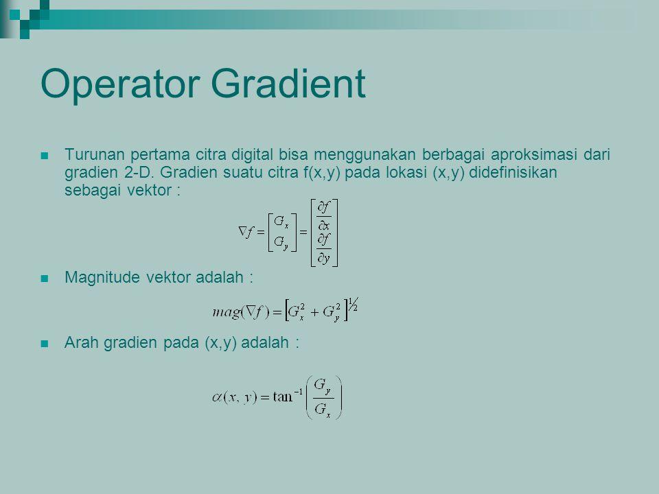 Operator Gradient Turunan pertama citra digital bisa menggunakan berbagai aproksimasi dari gradien 2-D. Gradien suatu citra f(x,y) pada lokasi (x,y) d