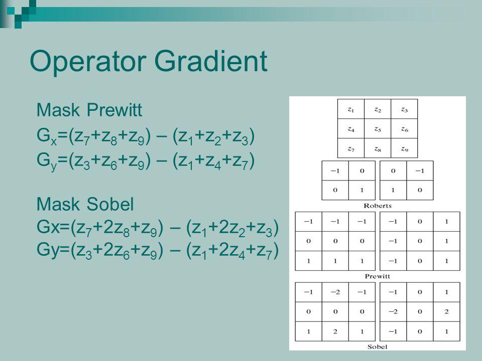 Operator Gradient Mask Prewitt G x =(z 7 +z 8 +z 9 ) – (z 1 +z 2 +z 3 ) G y =(z 3 +z 6 +z 9 ) – (z 1 +z 4 +z 7 ) Mask Sobel Gx=(z 7 +2z 8 +z 9 ) – (z