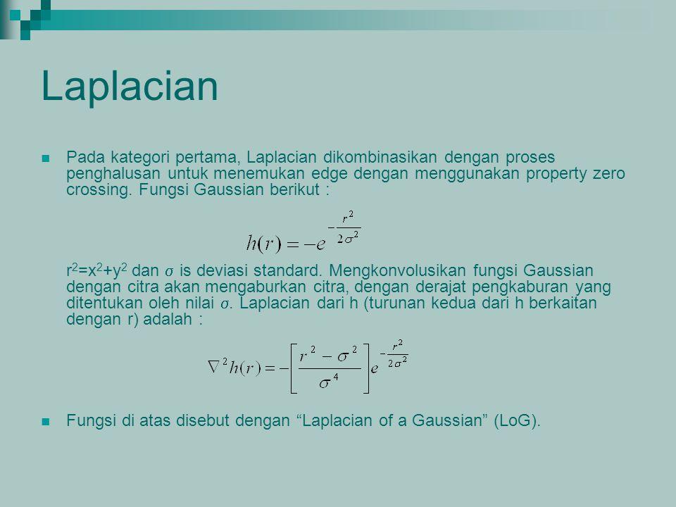 Laplacian Pada kategori pertama, Laplacian dikombinasikan dengan proses penghalusan untuk menemukan edge dengan menggunakan property zero crossing. Fu
