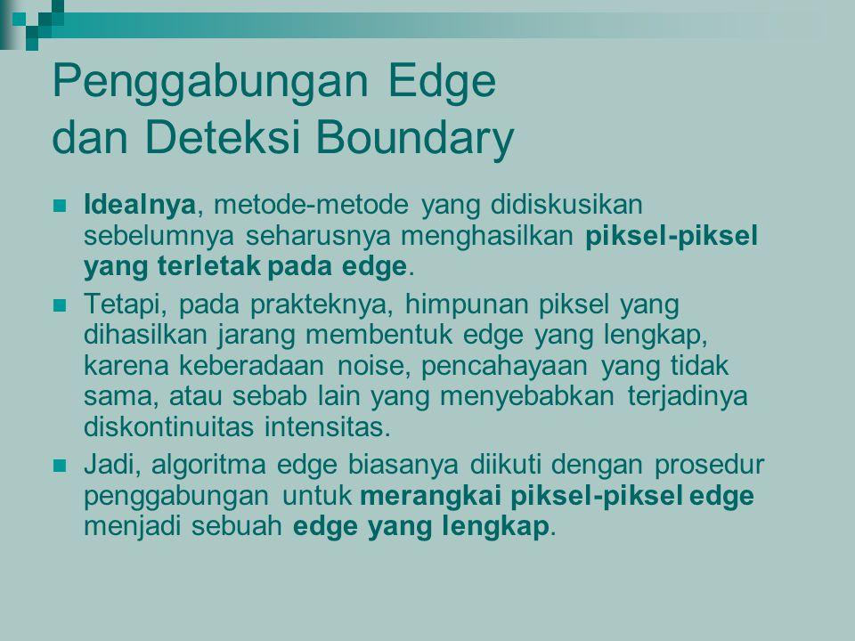 Penggabungan Edge dan Deteksi Boundary Idealnya, metode-metode yang didiskusikan sebelumnya seharusnya menghasilkan piksel-piksel yang terletak pada e
