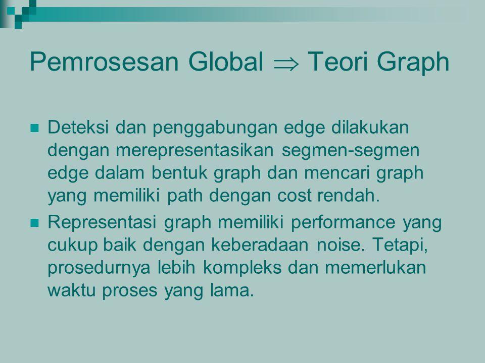 Pemrosesan Global  Teori Graph Deteksi dan penggabungan edge dilakukan dengan merepresentasikan segmen-segmen edge dalam bentuk graph dan mencari gra