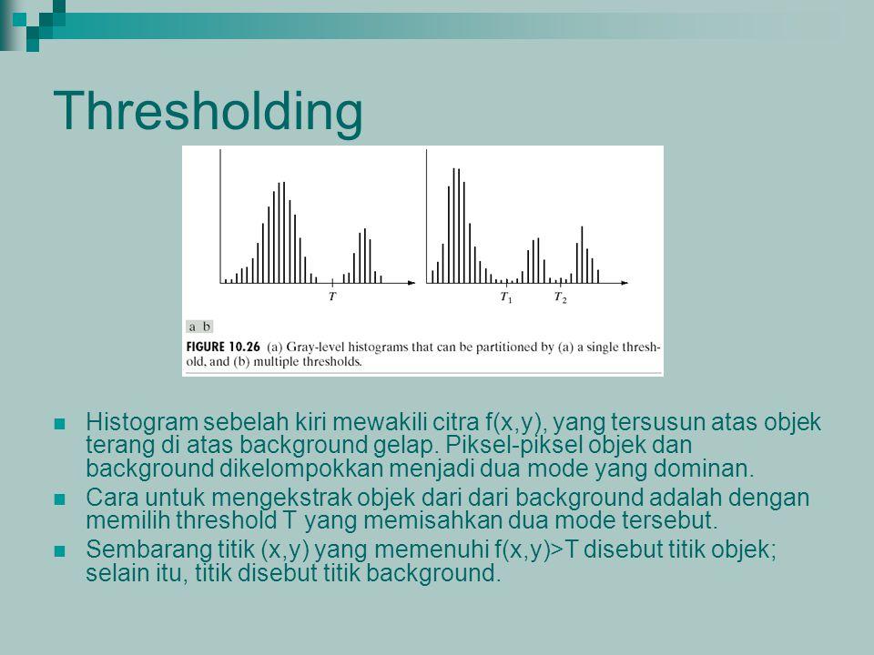 Thresholding Histogram sebelah kiri mewakili citra f(x,y), yang tersusun atas objek terang di atas background gelap. Piksel-piksel objek dan backgroun