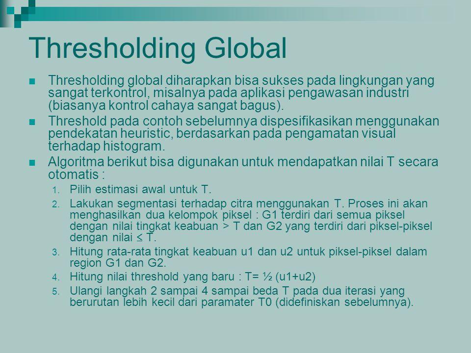 Thresholding global diharapkan bisa sukses pada lingkungan yang sangat terkontrol, misalnya pada aplikasi pengawasan industri (biasanya kontrol cahaya