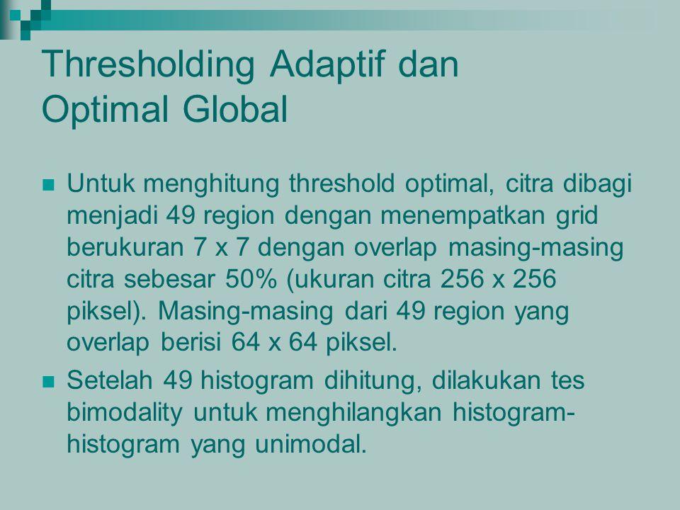 Thresholding Adaptif dan Optimal Global Untuk menghitung threshold optimal, citra dibagi menjadi 49 region dengan menempatkan grid berukuran 7 x 7 den