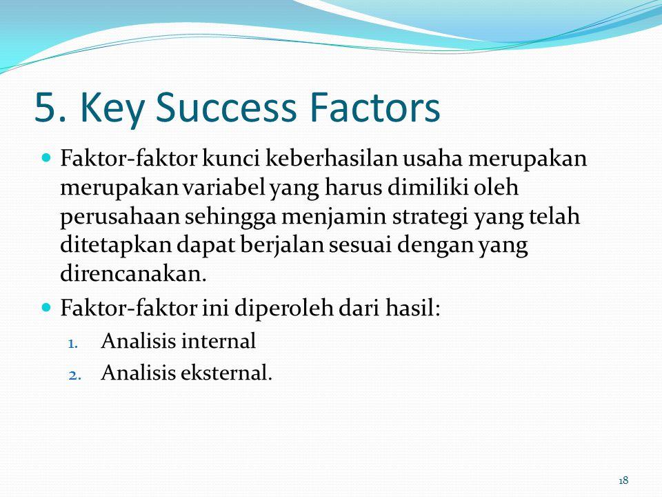 5. Key Success Factors Faktor-faktor kunci keberhasilan usaha merupakan merupakan variabel yang harus dimiliki oleh perusahaan sehingga menjamin strat