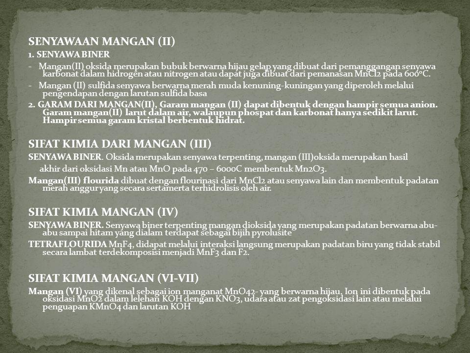 SENYAWAAN MANGAN (II) 1.