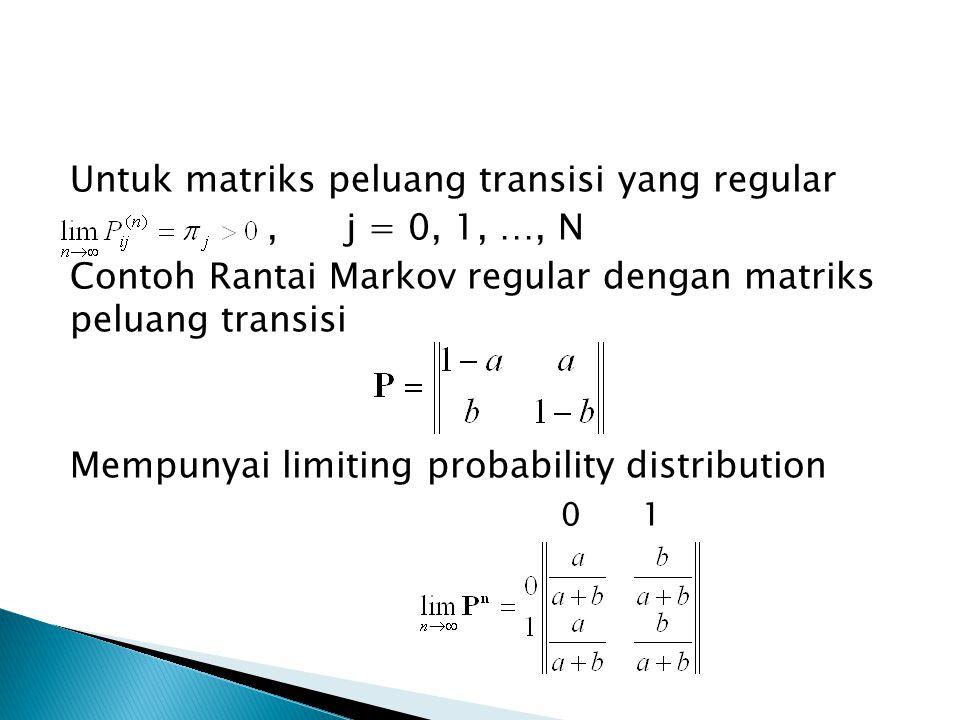Untuk matriks peluang transisi yang regular,j = 0, 1, …, N Contoh Rantai Markov regular dengan matriks peluang transisi Mempunyai limiting probability distribution 0 1