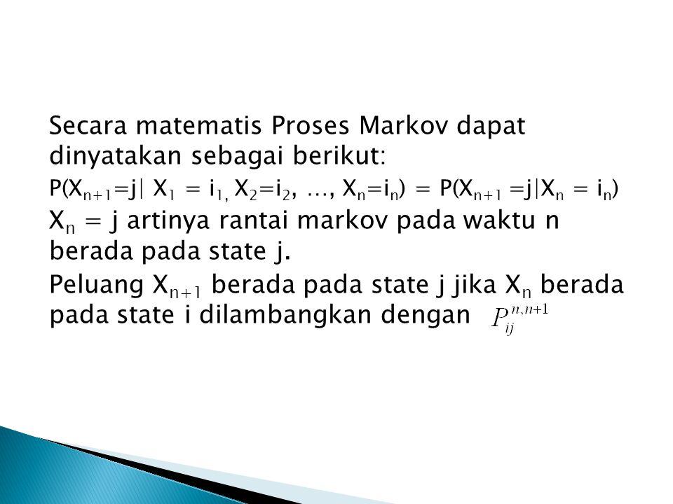 Secara matematis Proses Markov dapat dinyatakan sebagai berikut: P(X n+1 =j| X 1 = i 1, X 2 =i 2, …, X n =i n ) = P(X n+1 =j|X n = i n ) X n = j artinya rantai markov pada waktu n berada pada state j.