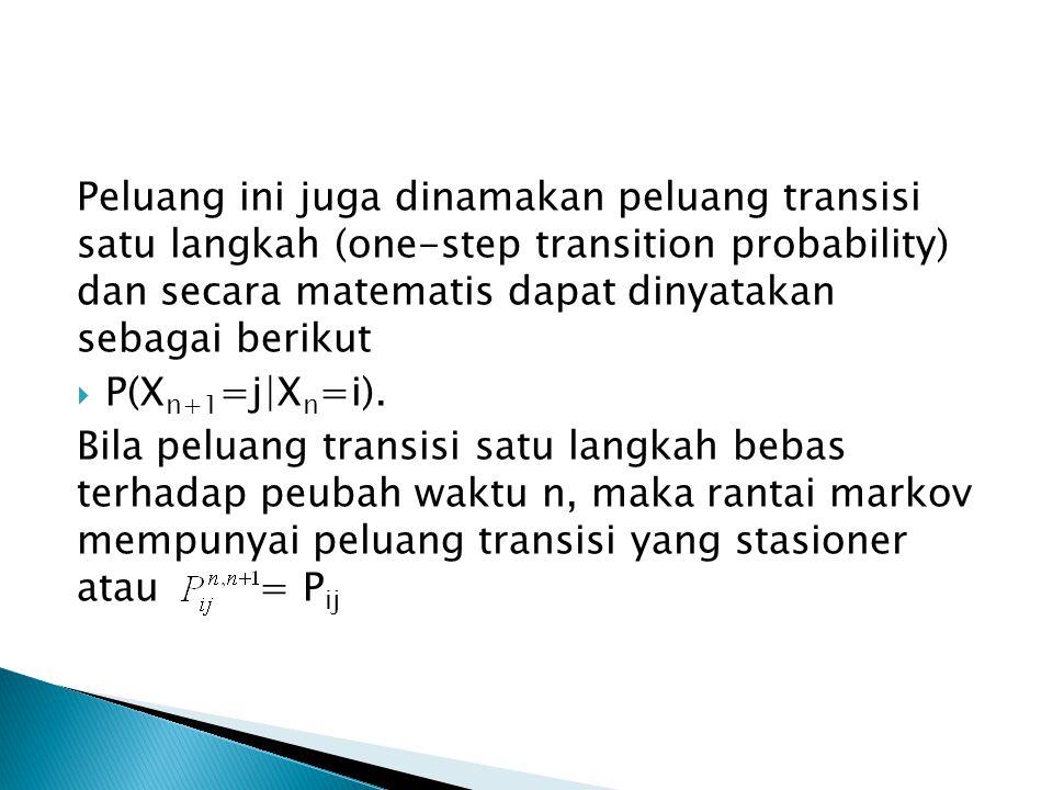 Peluang ini juga dinamakan peluang transisi satu langkah (one-step transition probability) dan secara matematis dapat dinyatakan sebagai berikut  P(X n+1 =j|X n =i).