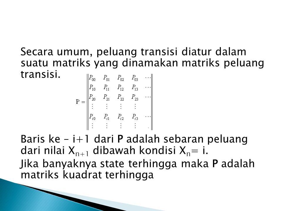 Bila diketahui rantai markov dengan matriks peluang transisi 012 Carilah limiting probability distributionnya!