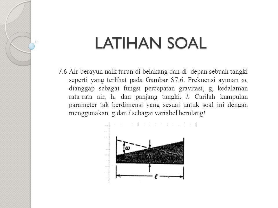 7.6 Air berayun naik turun di belakang dan di depan sebuah tangki seperti yang terlihat pada Gambar S7.6. Frekuensi ayunan ω, dianggap sebagai fungsi