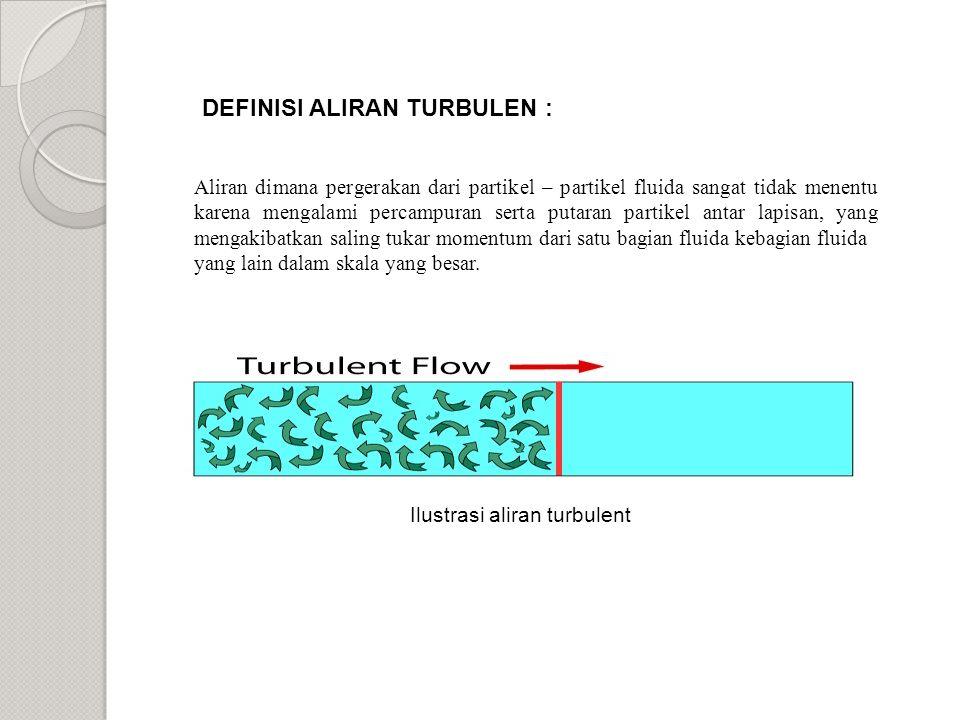 Ilustrasi aliran turbulent Aliran dimana pergerakan dari partikel – partikel fluida sangat tidak menentu karena mengalami percampuran serta putaran partikel antar lapisan, yang mengakibatkan saling tukar momentum dari satu bagian fluida kebagian fluida yang lain dalam skala yang besar.