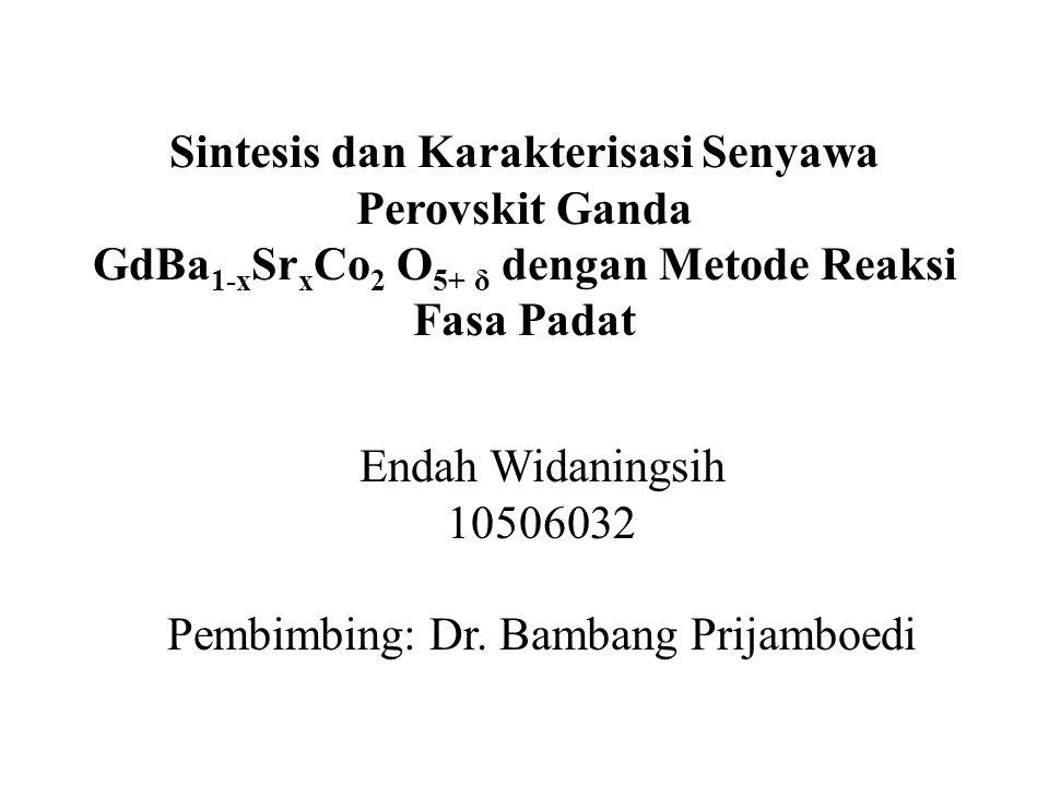 Sintesis dan Karakterisasi Senyawa Perovskit Ganda GdBa 1-x Sr x Co 2 O 5+ δ dengan Metode Reaksi Fasa Padat Endah Widaningsih 10506032 Pembimbing: Dr.