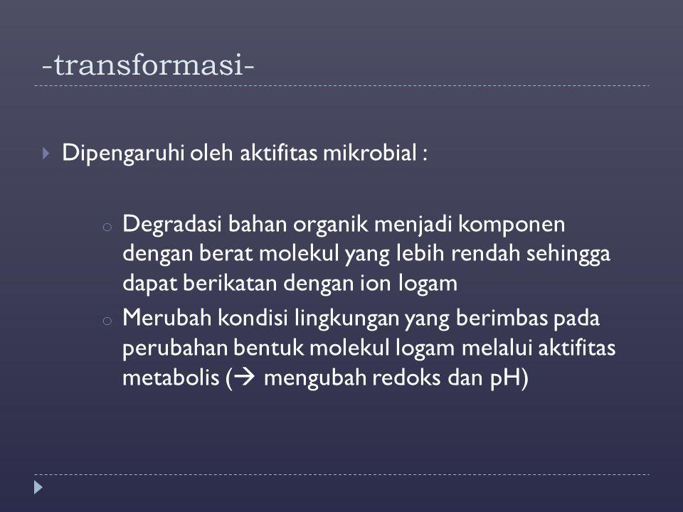 -transformasi-  Dipengaruhi oleh aktifitas mikrobial : o Degradasi bahan organik menjadi komponen dengan berat molekul yang lebih rendah sehingga dap