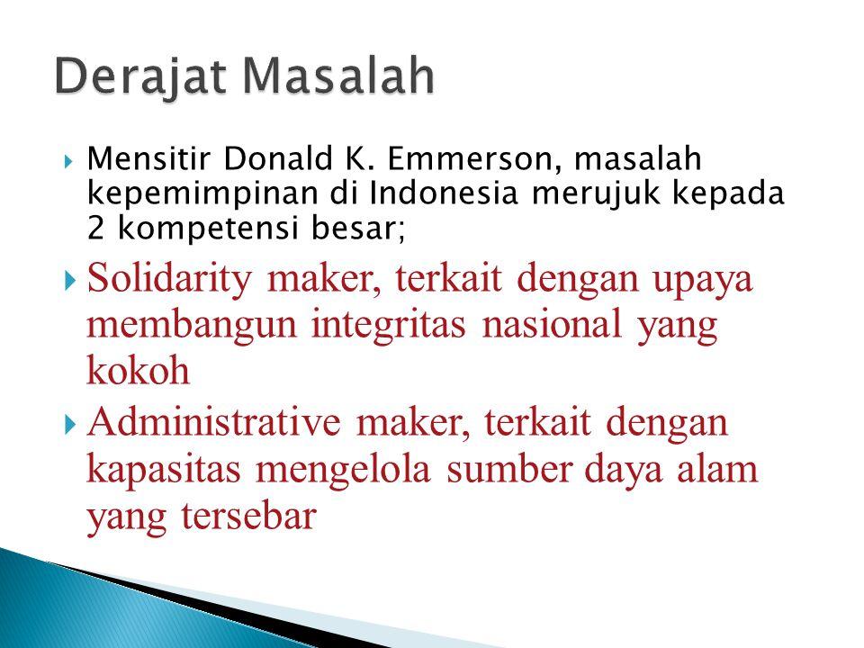  Mensitir Donald K. Emmerson, masalah kepemimpinan di Indonesia merujuk kepada 2 kompetensi besar;  Solidarity maker, terkait dengan upaya membangun